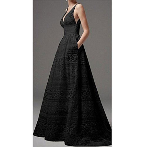 AOFJOSFHS V-Neck Sleeveless Lace Wedding Dress Ankle Length Sexy Evening Dress for Women Ladies Plus Size (Black, 2XL)
