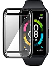 For Honor Band 6 Watch Case Soft TPU Protective Cover For huawei watch case Frame Bumper Shell , Black , 2725619378323