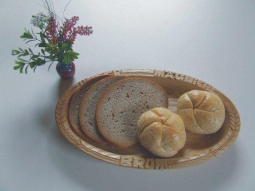 ovale Brotschale Brotteller Brotmulde; Material: Esche natur geölt, Unser täglich Brot