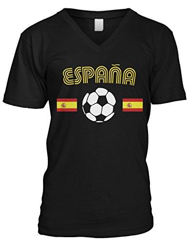 (Amdesco Men's Spain Soccer Flags, Love Espana Football V-Neck T-Shirt, Black 2XL)