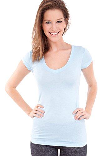 Ladies Plain Short Sleeve T-Shirt Round V-Neck Cotton Spandex, Multiple Colors