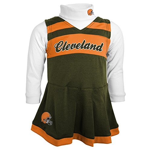 [NFL Cleveland Browns Girls Cheer Jumper Dress with Turtleneck Set, Large, Brown Suede] (Cleveland Costumes)