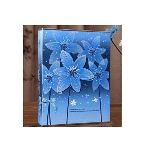 Gaoxingbianlidian Album, Inset Boxed Traditional Photo Album, Stylish and Youthful Design (can Accommodate 200 Photos, Blue) Elegant (Color : A)
