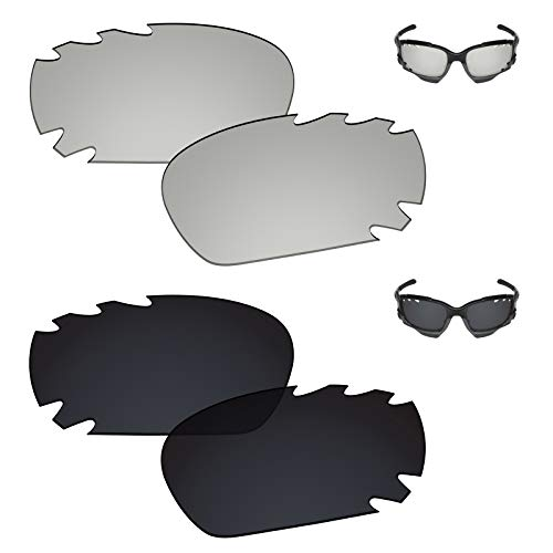 6cc57a740815f Galvanic Replacement Lenses for Oakley Racing Jacket Jawbone Vented  Sunglasses - Chrome + Black Polarized - Combo Pack