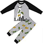 Boys Pajamas Long Sleeve Toddler Clothes Set Dinosaur 100% Cotton Little Kids Pjs Sleepwear(Size 2-7 Years)