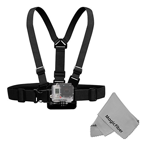 Chest Mount Harness for GoPro Hero4 Hero3+ Hero3 Hero2 & Hero Cameras - Includes: Chest Harness + Mount Extension + Long Screw + MagicFiber Microfiber Cleaning ()