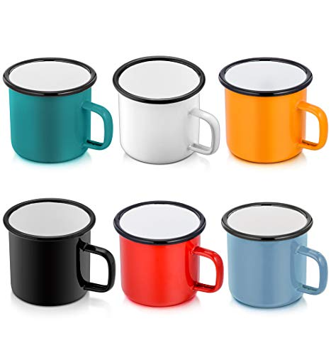 Enamel Camping Coffee Mug Set of 6, P&P CHEF Small Colored Mugs Cups for Family Gathering/Friend Party/Camping/Picnic/Fishing, Lightweight & Portable -12 Ounce (350ML)