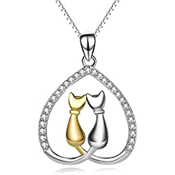 YFN Women's Jewelry Gift 925 Sterling Silver Lovely Double Cat Heart Pendant Necklace (Cat)