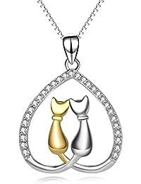 Jewelry 925 Sterling Silver Two-tone Eternal Love Heart Pet Cat Pendant Necklace Jewelry For Women