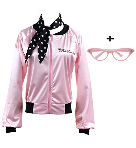 zhongyichen 1950s Pink Satin Jacket with Neck Scarf T Bird Halloween Costume (M, Pink) ()