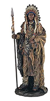 14 Inch Indian Warrior w Spear Indio North American Statue Figure Figurine