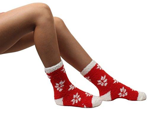 Gilbin 6 Pack Super Soft Toasty Fuzzy Snowflake Holiday Socks, Anti Grip Socks, Size 9-11 by Gilbin (Image #2)