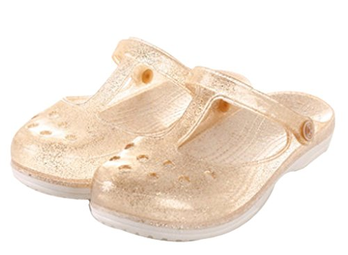 Womens Summer Closed Toe Beach Slippers Jelly Sandals Gold P1QYaL1h