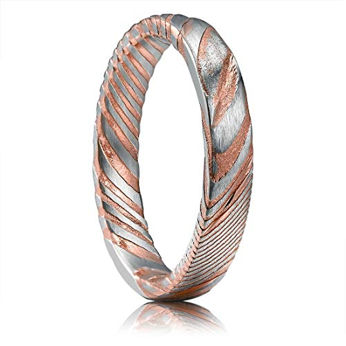 THREE KEYS JEWELRY 4mm Damascus Steel Mens Wedding Ring Domed Grooved Wood Grain Bold Hand Forged Damascus Steel Wedding Band Engagement Ring Silver Rose Gold Size 8