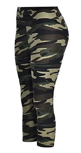 A-Wintage Women's Ultra Soft Printed Capri Leggings 3/4 Length High Waisted Yoga Leggings Army Green Camo