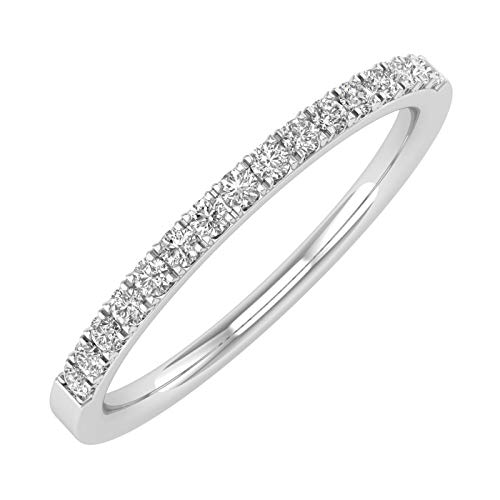 10K White Gold Diamond Semi-Eternity Wedding Band Ring (0.15 Carat) - IGI Certified (Ring Size 7)