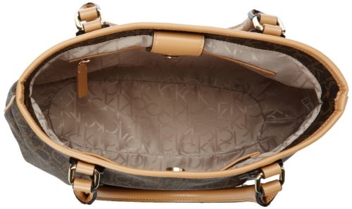 Calvin Klein Hudson Monogram Satchel,Brown/Khaki/Camel,One Size