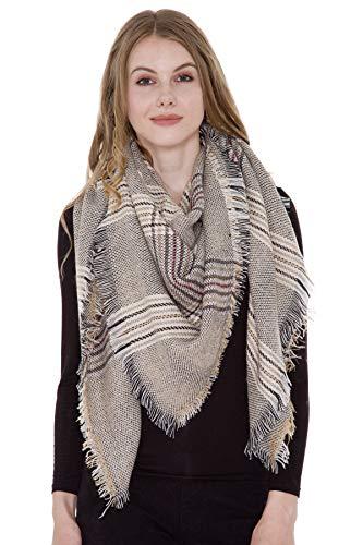 Womens Chic Tartan Plaid Checked Large Blanket Shawl Scarf Oversized Poncho Wrap