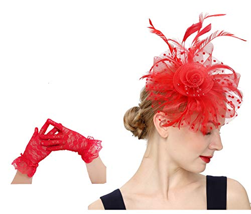 Flower Cocktail Tea Party Headwear Feather Fascinators Top Hat for Girls and Women(1-Red set)]()