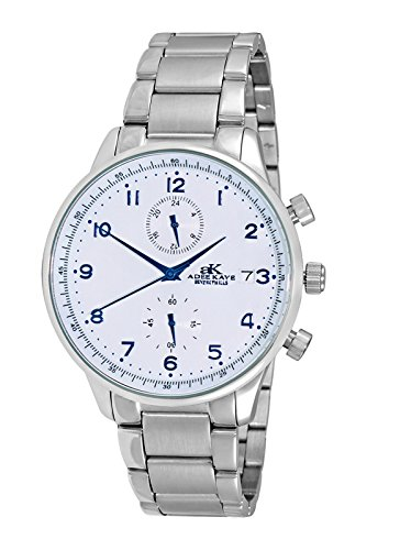 Adee Kaye Men's Japanese-Quartz Fitness Watch with Stainless-Steel Strap, Silver, 20 (Model: ()