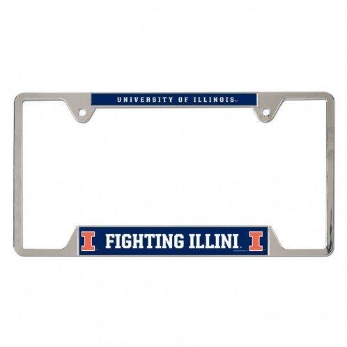 [Illinois Fighting Illini Metal License Plate Frame - Blue] (Illinois Chrome License Plate)