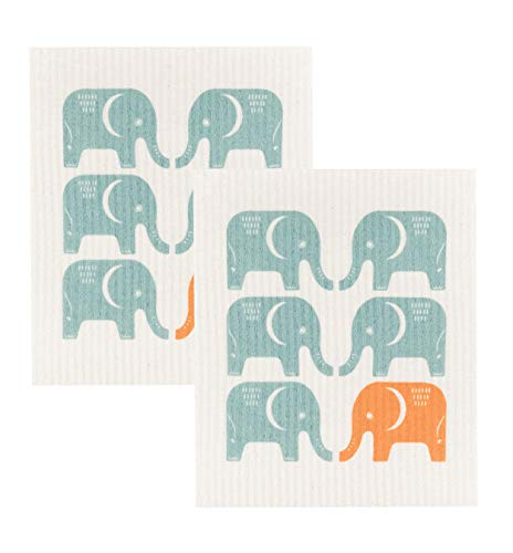 Now Designs Swedish Dishcloth, Set of Two, Edgar Elephant Print (Elephant Dishes)