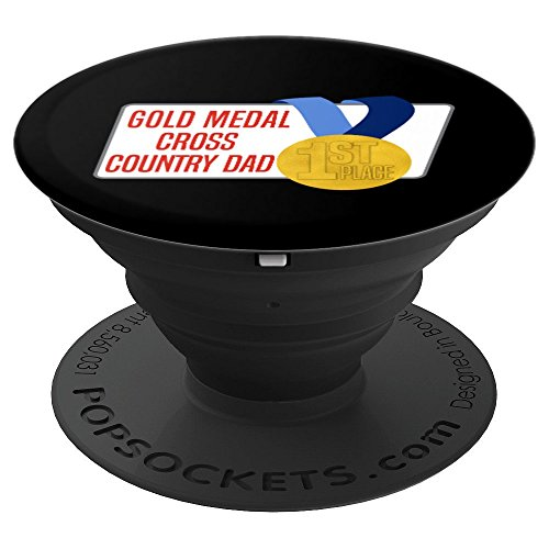 Cross Country Dad Best Runner Father's Award Gold Medal - PopSockets Grip and Stand for Phones and Tablets (Gold Country Medals)