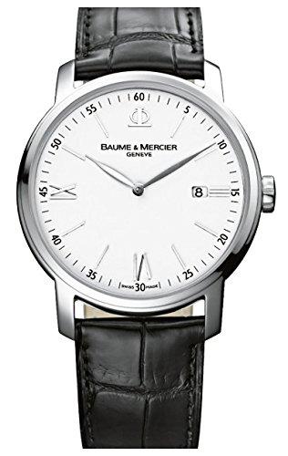 Baume et Mercier Classima White Dial Black Leather Mens Watch MOA10379