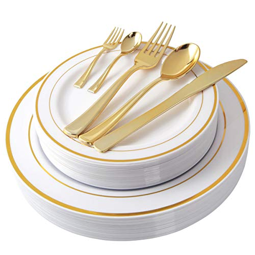 (NERVURE 175 Piece Gold Plastic Plate & Cutlery Set Service for 25 Disposable Place Setting Include: 25 Dinner Plates,25 Dessert plates, 25 Forks,25 Knives, 25 Spoons, 25 Mini Forks,25 Mini Spoons)
