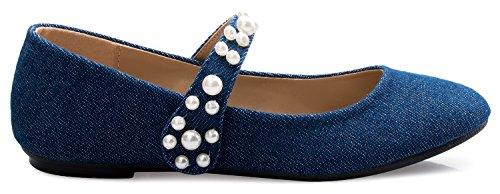 Olivia K Ballerine Mary Jane Femme - Chaussure Décontractée Confort Matelassée - Slip Velcro Facile Sur Perle Denim Bleue