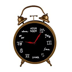 NIKKY HOME Vintage Decorative Metal Table Clock with Whimsical Numerals, Brass