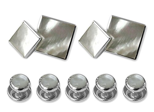 mother Set Cufflinks Gift of Sterling sided double silver pearl Dress Studs Shirt CFFSqw15