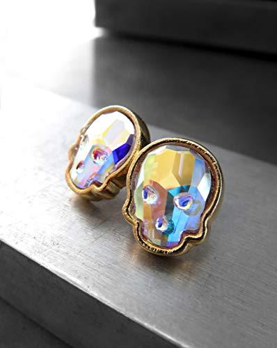 - Iridescent Crystal Skull Stud Earrings in Swarovski Crystal AB, Gold Tone Bezels on Post Earrings