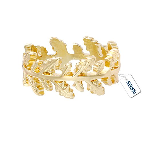Gold Laurel Leaf Wreath - SENFAI New Collection Authentic Laurel Wreath Laurel Leaves Ring Real Gold Plated (8)