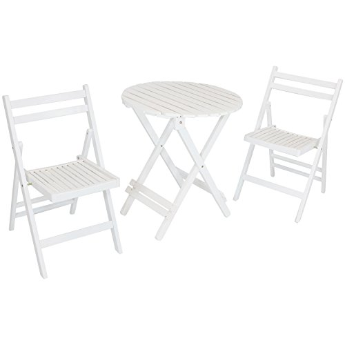 Sunnydaze 3-Piece Bistro Set, Folding Outdoor Wood Patio Furniture, Round Table and 2 Chairs, White