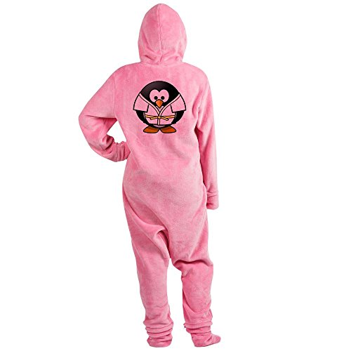 Truly Teague Adult Footed Pajamas Little Round Penguin - Martial Arts Karate Judo - Pink, XL -