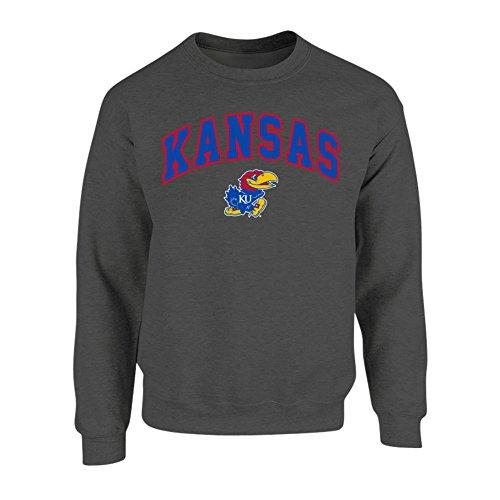 Elite Fan Shop NCAA Men's Kansas Jayhawks Crewneck Sweatshirt Dark Heather Arch Kansas Jayhawks Dark Heather Large (Kansas Jayhawks Apparel)