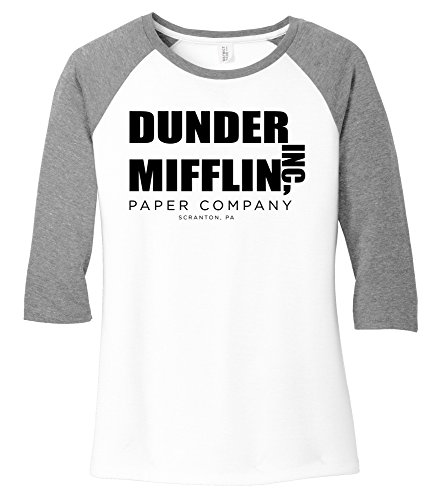 Ladies Show Shirt - Comical Shirt Ladies Dunder Mifflin Paper Company Funny TV Show Shirt Grey Frost/White M