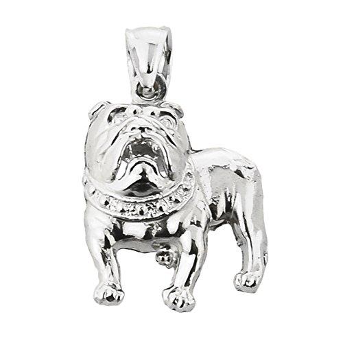 (High Polish 14k White Gold Bulldog Charm Pendant)