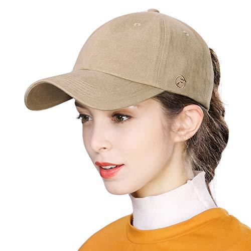- Adjustable Womens Ponytail Bun Baseball Cap Washed Cotton Outdoor Sport Camping Hiking Running Hat Strapback Beige