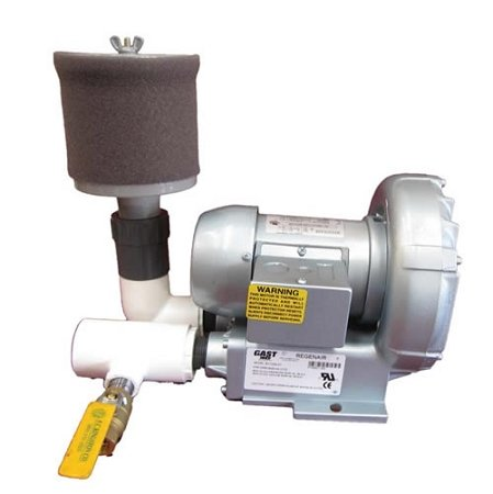 Gast 1/2 HP Regenerative Blower with Filter and Bleed Valve 115 Volt