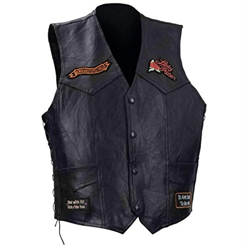 Diamond Plate Ladies Rock Design Genuine Buffalo Leather Vest- 2x