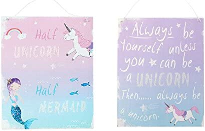 Half Unicorn Half Mermaid Rainbow Blue Pink Metal Hanging Plaque Glittery Sign