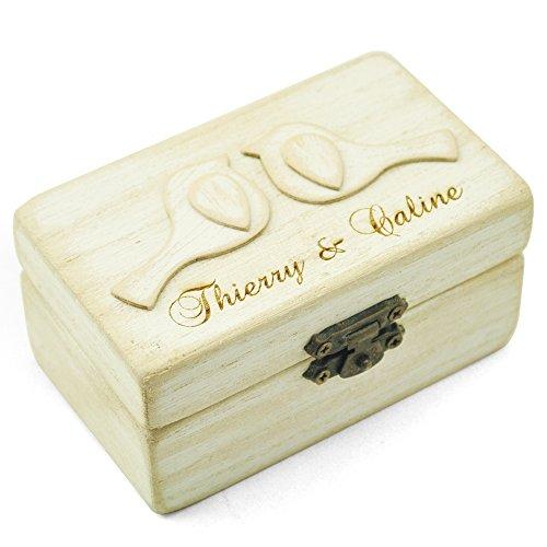 Personalized Wedding Ring Box,Love Bird Ring Bearer Box, Engagement Ring Box,Wooden Rings (Love Birds Wedding Ring)