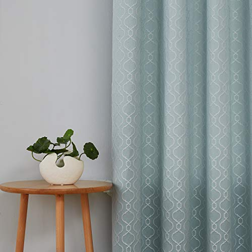 (Deconovo Jacquard Room Darkening Curtains for Bedroom Textured Moroccan Pattern Curtains 95 Inch Length Sky Blue, Set of 2)