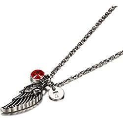 Wing of Angel Cremation Jewelry Initial Necklace Urn Memorial Ashes Holder Keepsake with Birthstone Crystal by AMIST July T
