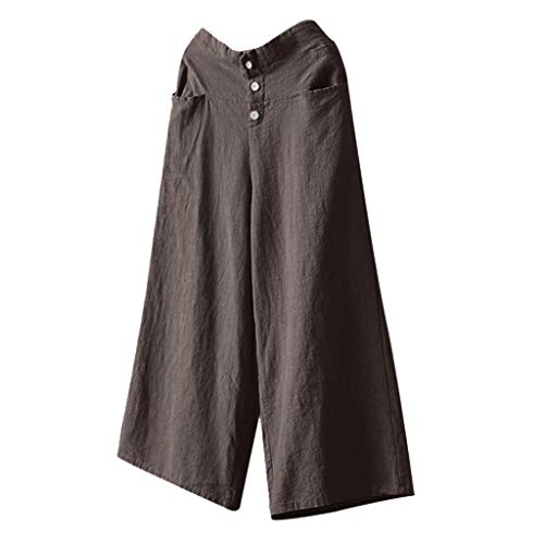 BBesty Big Sale Women's Solid Color Palazzo High Waist Wide Leg Culottes Cotton Linen Trousers Loose Pants Brown
