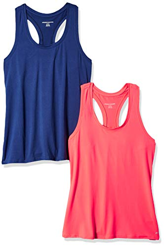 Amazon Essentials Women's 2-Pack Tech Stretch Racerback Tank Top, Bright Pink/Navy, XX-Large