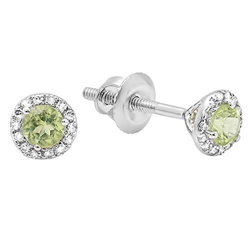Dazzlingrock Collection 18K Round Peridot & White Diamond Ladies Halo Stud Earrings, White Gold