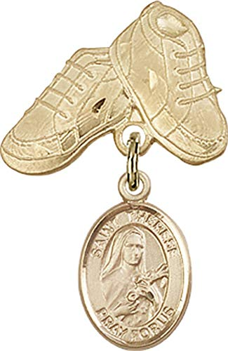 14kt Gold Filled Baby Badge with St. Therese of Lisieux Charm and Baby Boots Pin St. Therese of Lisieux is the Patron Saint of Aviators/Florists 1 X 5/8